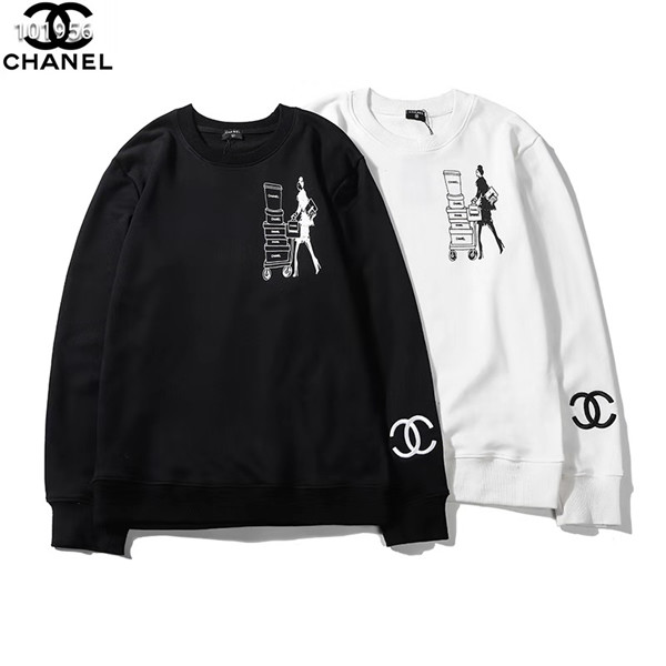 chanel パーカー 丸い首 白黒
